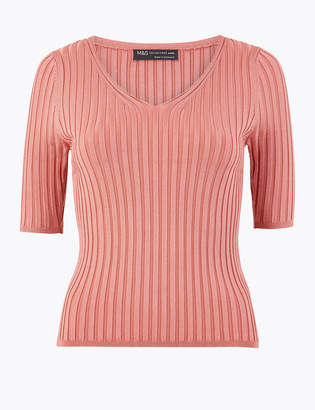 M&S CollectionMarks and Spencer PETITE Ribbed V-Neck Top