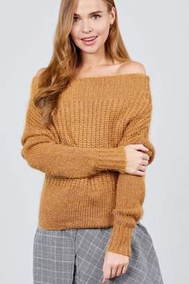 Active Usa Off-Shoulder Knit Sweater