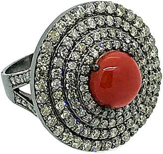 Arthur Marder Fine Jewelry Silver 3.00 Ct. Tw. Diamond & Coral Ring
