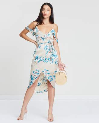 Missguided Floral Frill Wrap Midi Dress
