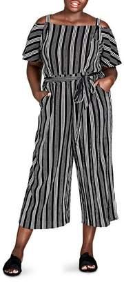 City Chic Plus Striped Cold-Shoulder Jumpsuit