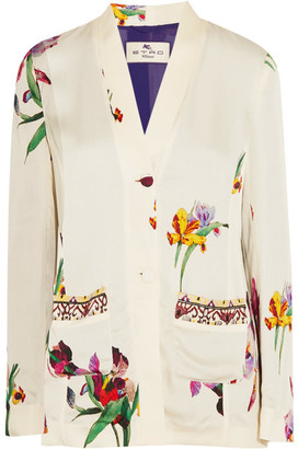 Etro - Embroidered Floral-print Satin-crepe Blazer - White $1,980 thestylecure.com