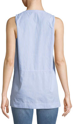 Neiman Marcus Mixed-Stripe Sleeveless Button-Front Blouse