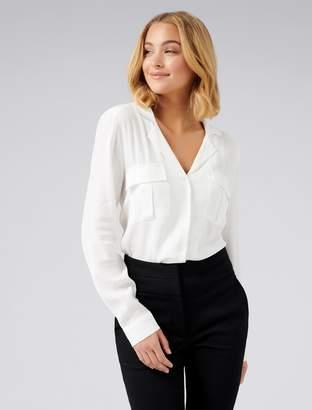 Forever New Josephine Button Front Pocket Shirt - Porcelain - 4