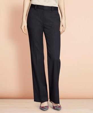 Brooks Brothers Wide-Leg Pinstripe Stretch Wool Trousers