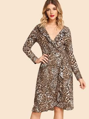 Shein Leopard Print Ruffle Dip Hem Dress