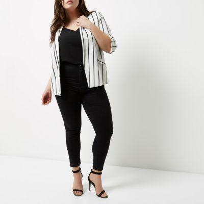 River IslandRiver Island Womens Plus white striped ruched sleeve blazer