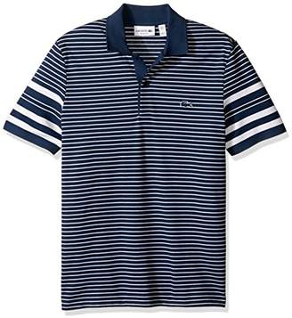 Lacoste Men's Short Sleeve Pique with Waffle Stripe Reg Fit Polo