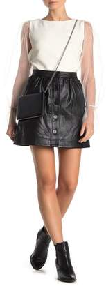 French Connection Adela Leather Button Front Skirt