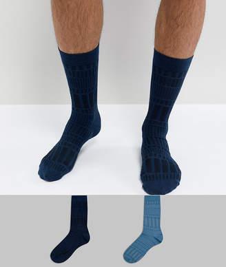 Asos DESIGN Socks In Geo Texture 2 Pack