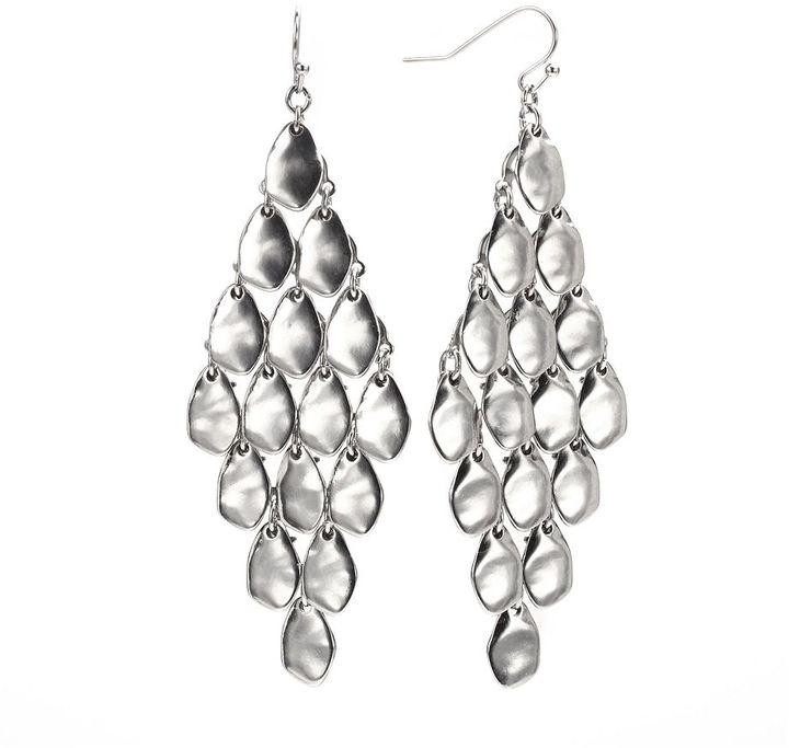 Apt. 9 silver tone hammered kite earrings