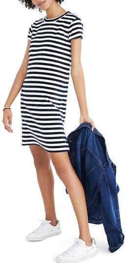Madewell Stripe Velour T-Shirt Dress