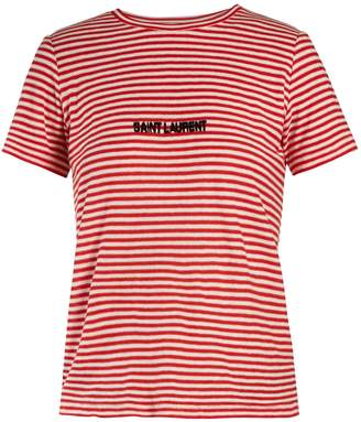 Saint Laurent Logo-intarsia striped T-shirt