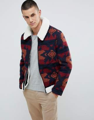 Asos DESIGN faux shearling biker jacket with fleece collar in red