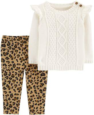 Carter's Baby Girl Cable-Knit Sweater & Cheetah Leggings Set