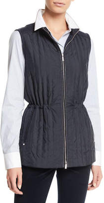 Lafayette 148 New York Edison Zip-Front Outerwear Vest w/ Flannel Back