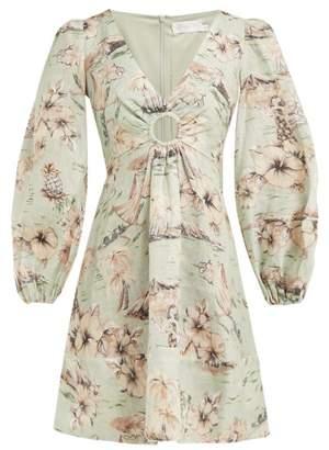 Zimmermann Wayfarer Floral Print Linen Dress - Womens - Light Green