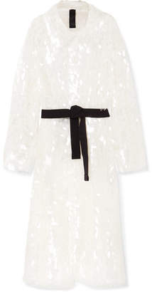 Norma Kamali Belted Sequined Tulle Trench Coat - White