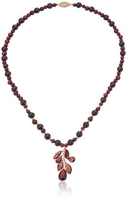 Handmade Beaded Garnet with Multi-Navette and Teardrop Center Shower Strand Necklace