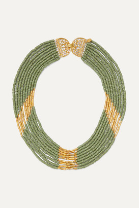 Bibi Marini - Mitu Gold-plated And Bead Necklace - Green