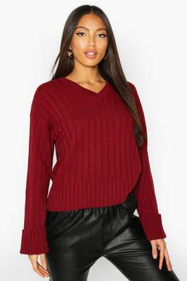 boohoo V Neck Rib Knit Jumper