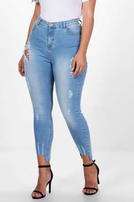 boohoo Plus Fray Detail Step Hem Skinny Jean