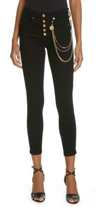 Veronica Beard Debbie 10 Chain Belt High Waist Skinny Jeans