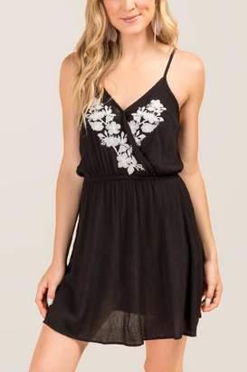 Mari Lattice Back A-line Dress - Black