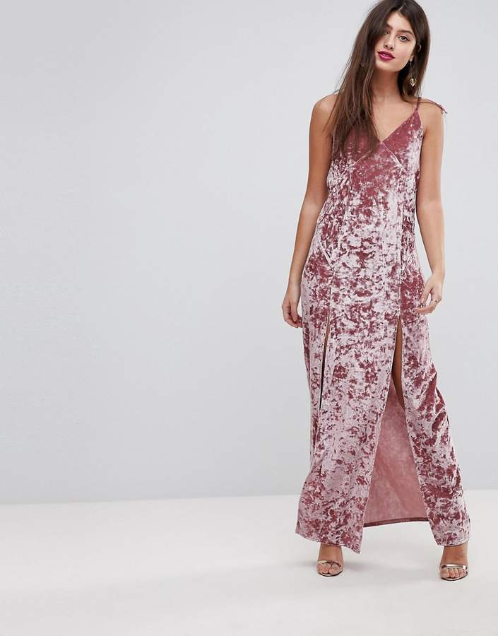 Asos ASOS Crushed Velvet Maxi Dress With Ties