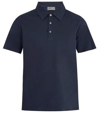 Kilgour Point Collar Cotton Pique Polo Shirt - Mens - Navy