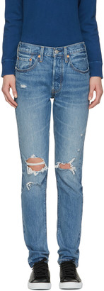 Levi's Blue 501 Skinny Jeans $115 thestylecure.com