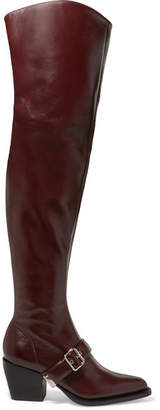 Chloé Rylee Glossed-leather Over-the-knee Boots - Burgundy
