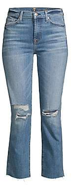 7 For All Mankind Women's Edie High Rise Ankle Straight-Leg Distressed Jeans