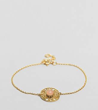 Asos Gold Plated Sterling Silver Faux Rose Quartz Fine Chain Bracelet