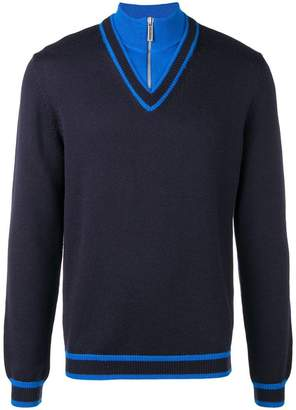 Dirk Bikkembergs panelled quarter zip sweater