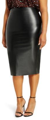 ELOQUII Faux Leather Column Skirt
