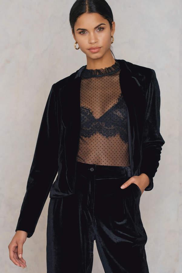 Rut&Circle Adina velvet jacket Black