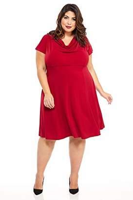 London Times Women's Plus Size Short Sleeve Cowl Neck Crepe FIT & Flare Dress