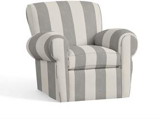 Pottery Barn Manhattan Upholstered Swivel Armchair - Print and Pattern