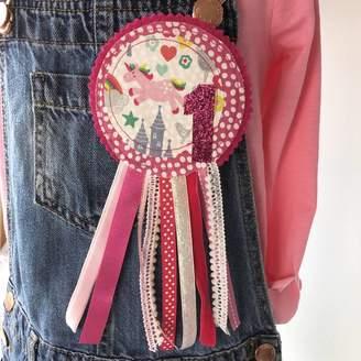 1804f191c Lily & Giraffe Handmade Girls Unicorn Birthday Rosette Badge