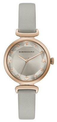 BCBGMAXAZRIA Women's Rose Gold Case Silver Dial Pink Strap Watch