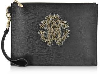 Roberto Cavalli Black Leather Unisex Zip Clutch W/gold Studs Rc Logo