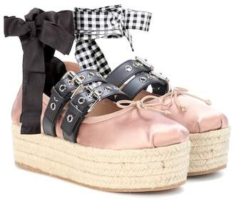 Miu Miu Satin and leather platform ballerinas