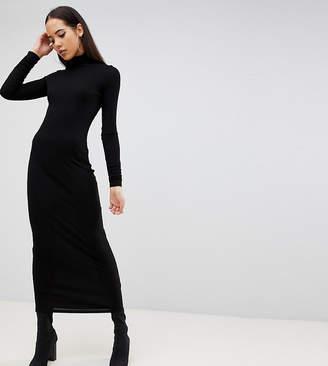 Asos Tall DESIGN Tall high neck rib maxi dress with long sleeves