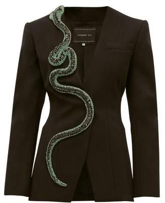Andrew Gn Crystal Snake Wool Blend Blazer - Womens - Black Green
