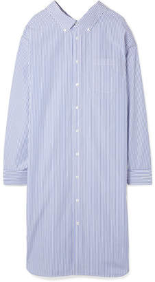 Balenciaga Striped Cotton-poplin Shirt Dress - Blue