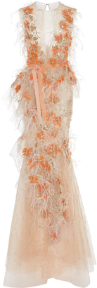 Crystal and Feather Embroidered Tulle Gown