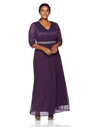 Alex Evenings Plus Size Women's Long V-Neck Lace Dress with Overlay Skirt