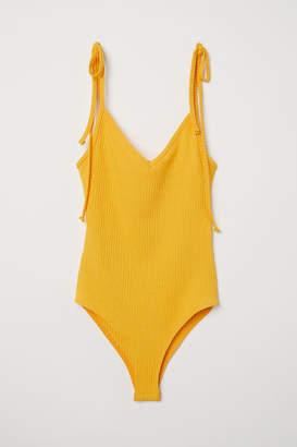 H&M Ribbed Bodysuit - Yellow