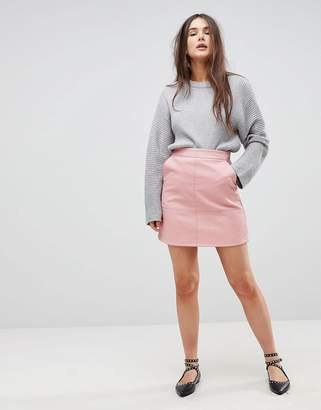 Only A-Line Leather Look Skirt